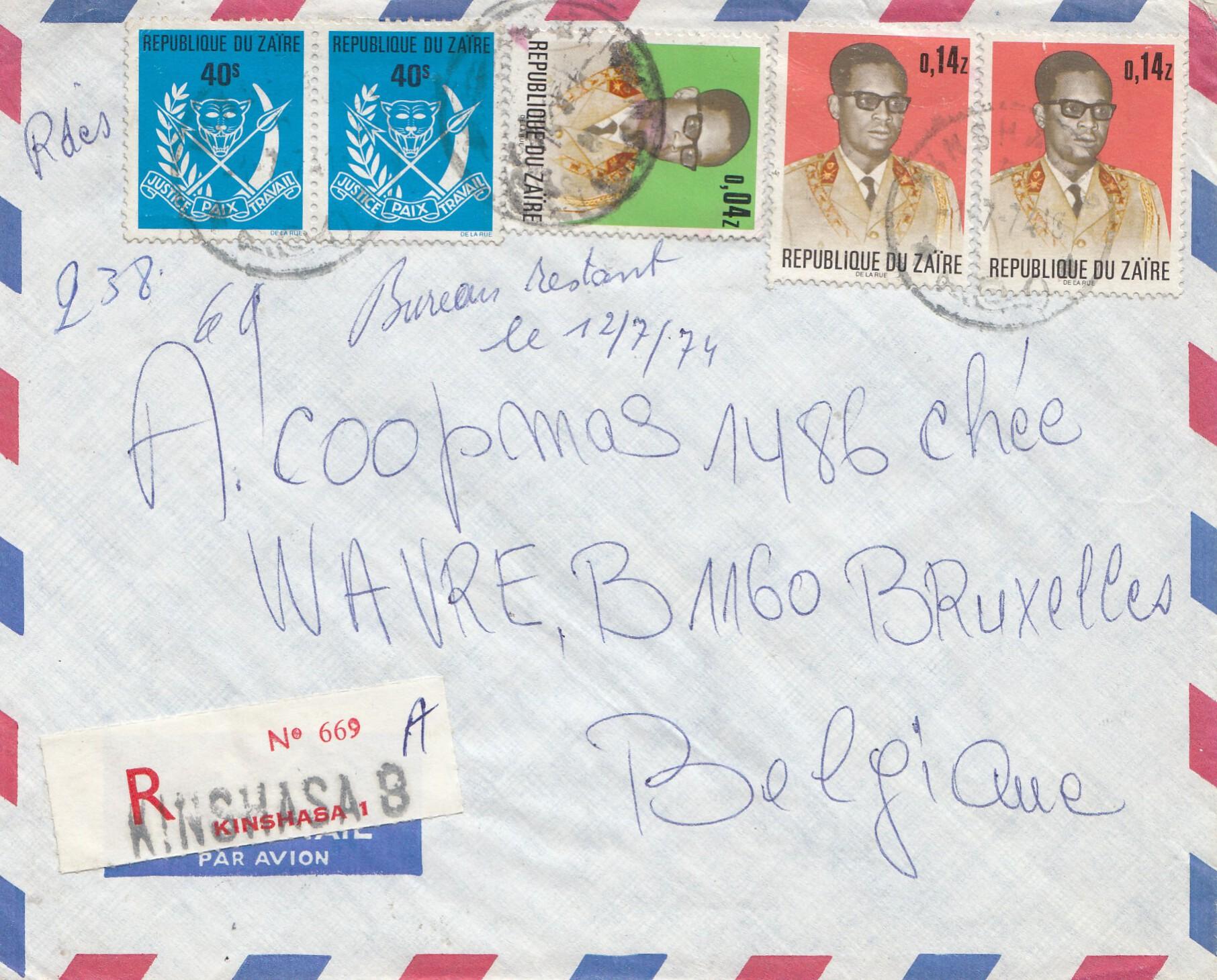 Belgisch Kongo Brief Aus Kinshasa Nach Belgien Affe Philarena