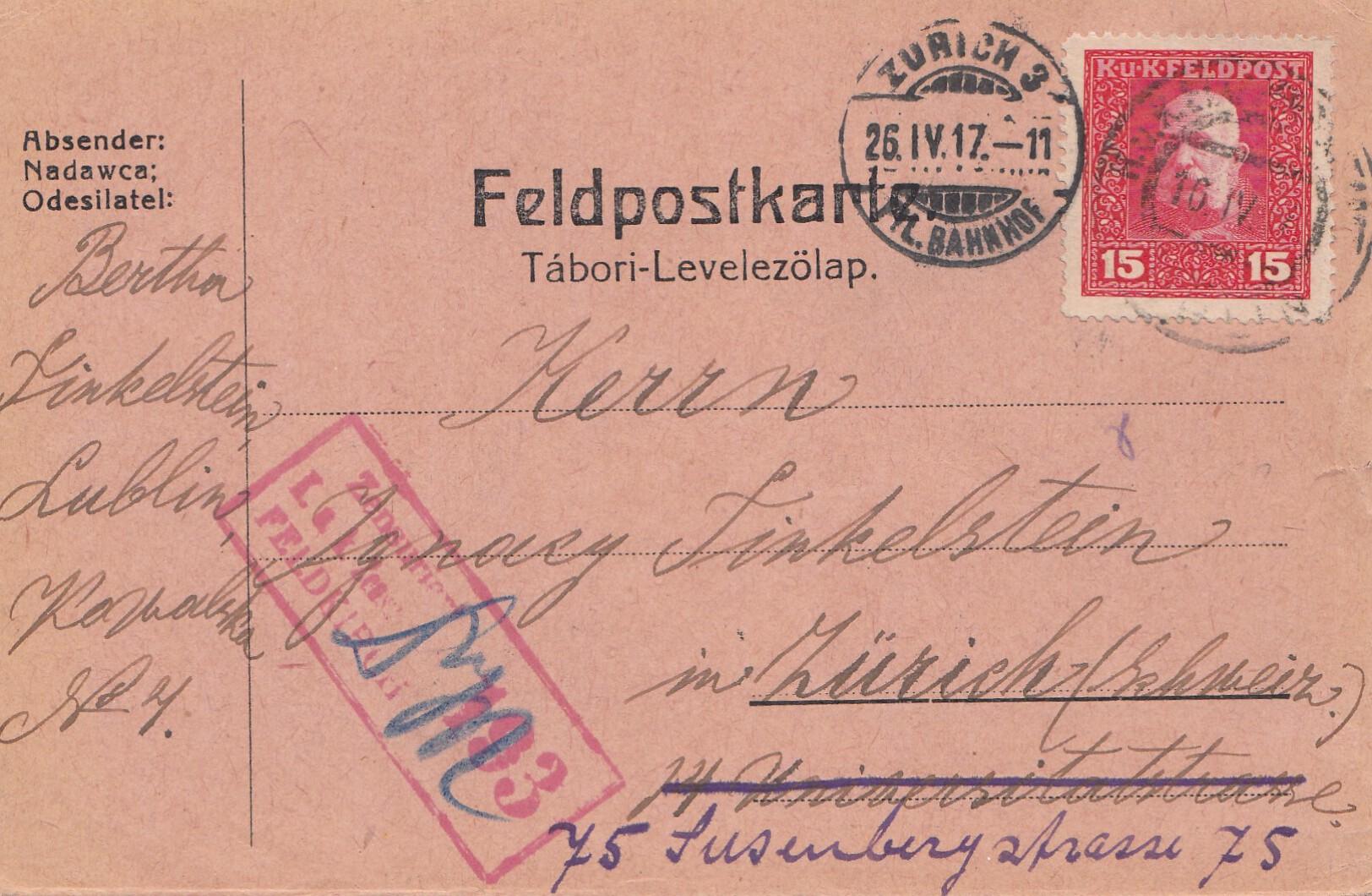 Brief Nach Zürich : Bosnien feldpostkorrespondenzkarte lublin nach