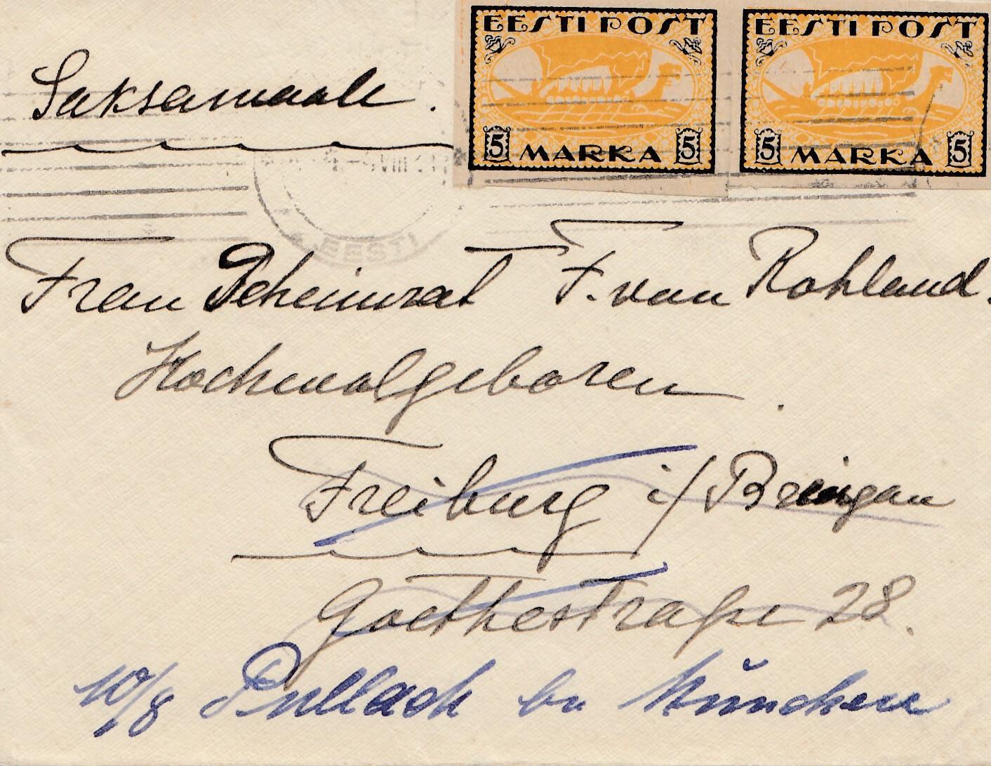 Estland 1921 Brief Nach Deutschland Eur 784 Picclick De