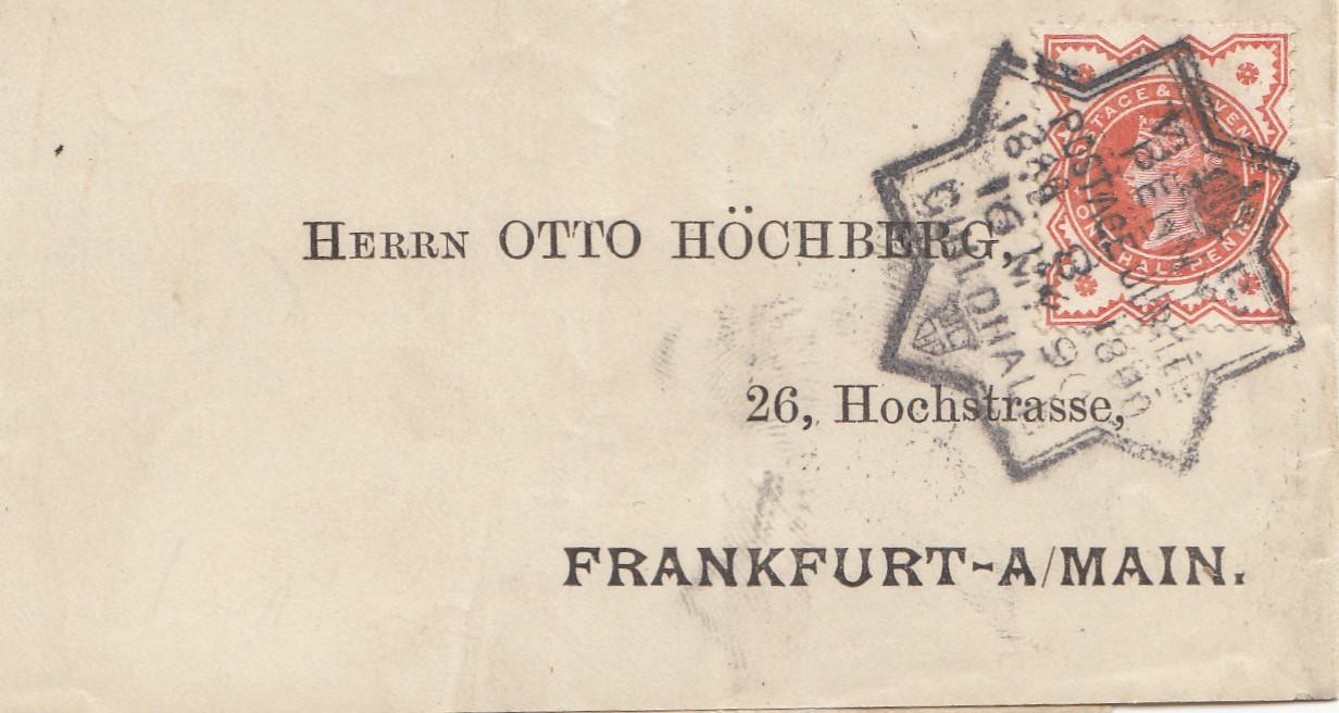 England-1890-Brief-nach-Frankfurt