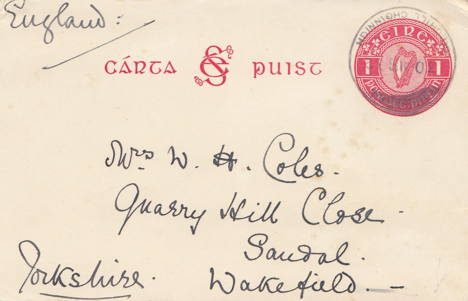 Briefe Nach Irland : Irland nach yorkshire england · philarena
