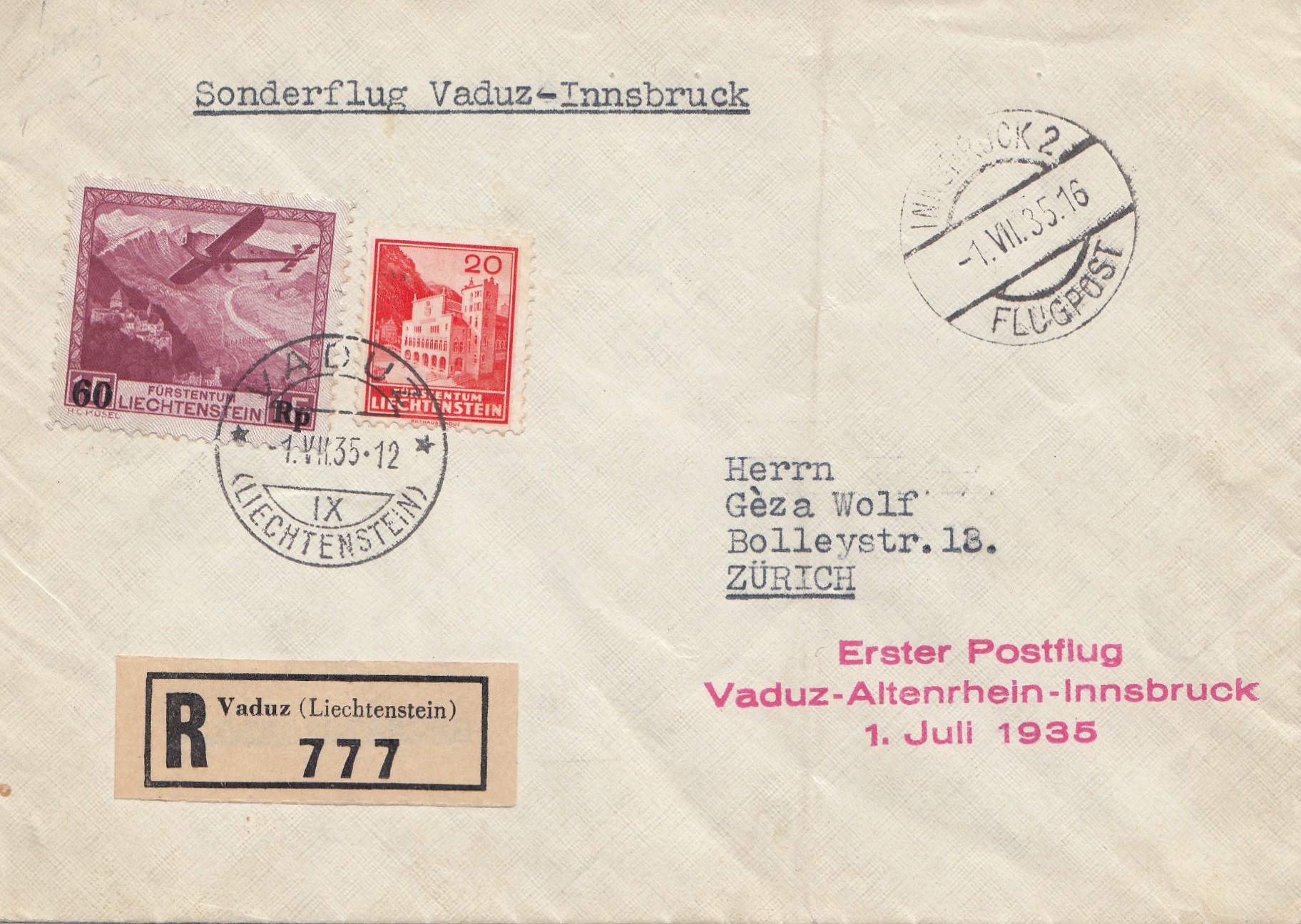 Brief Nach Zürich : Liechtenstein vaduz nach zürich erster postflug