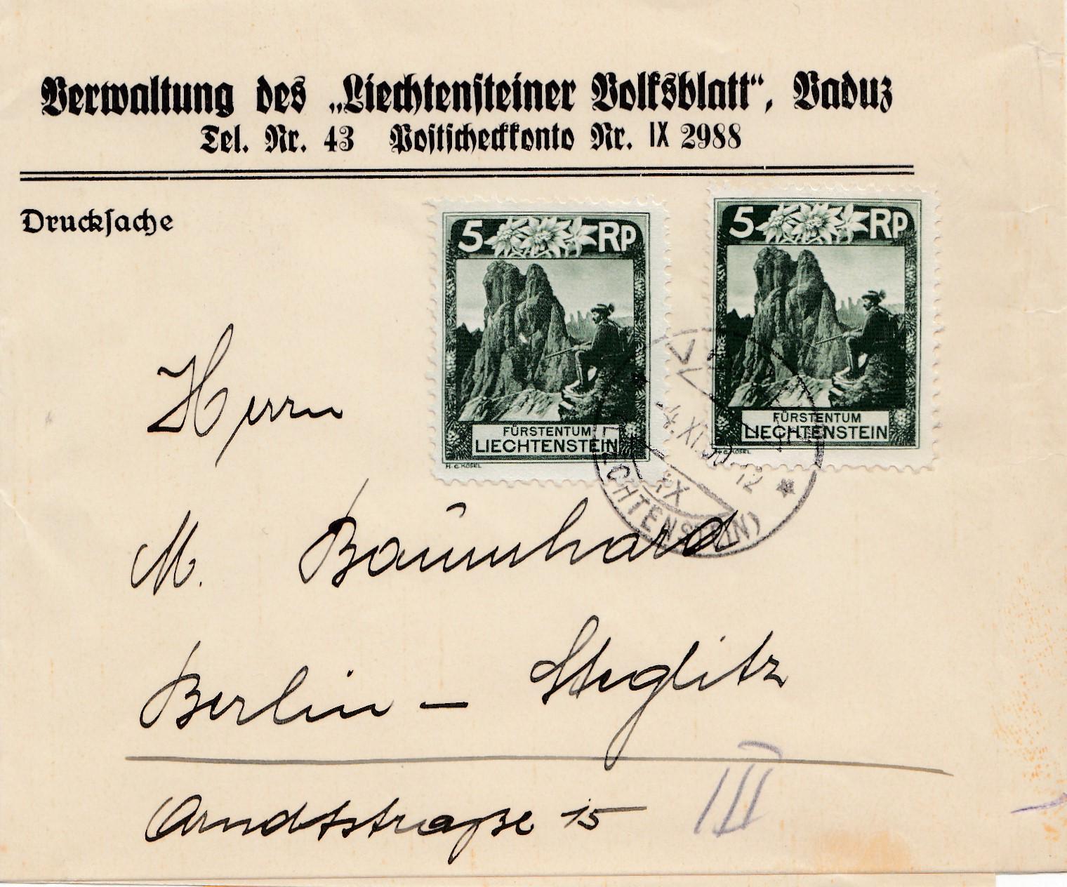 Liechtenstein-1930-Streifband-nach-Berlin