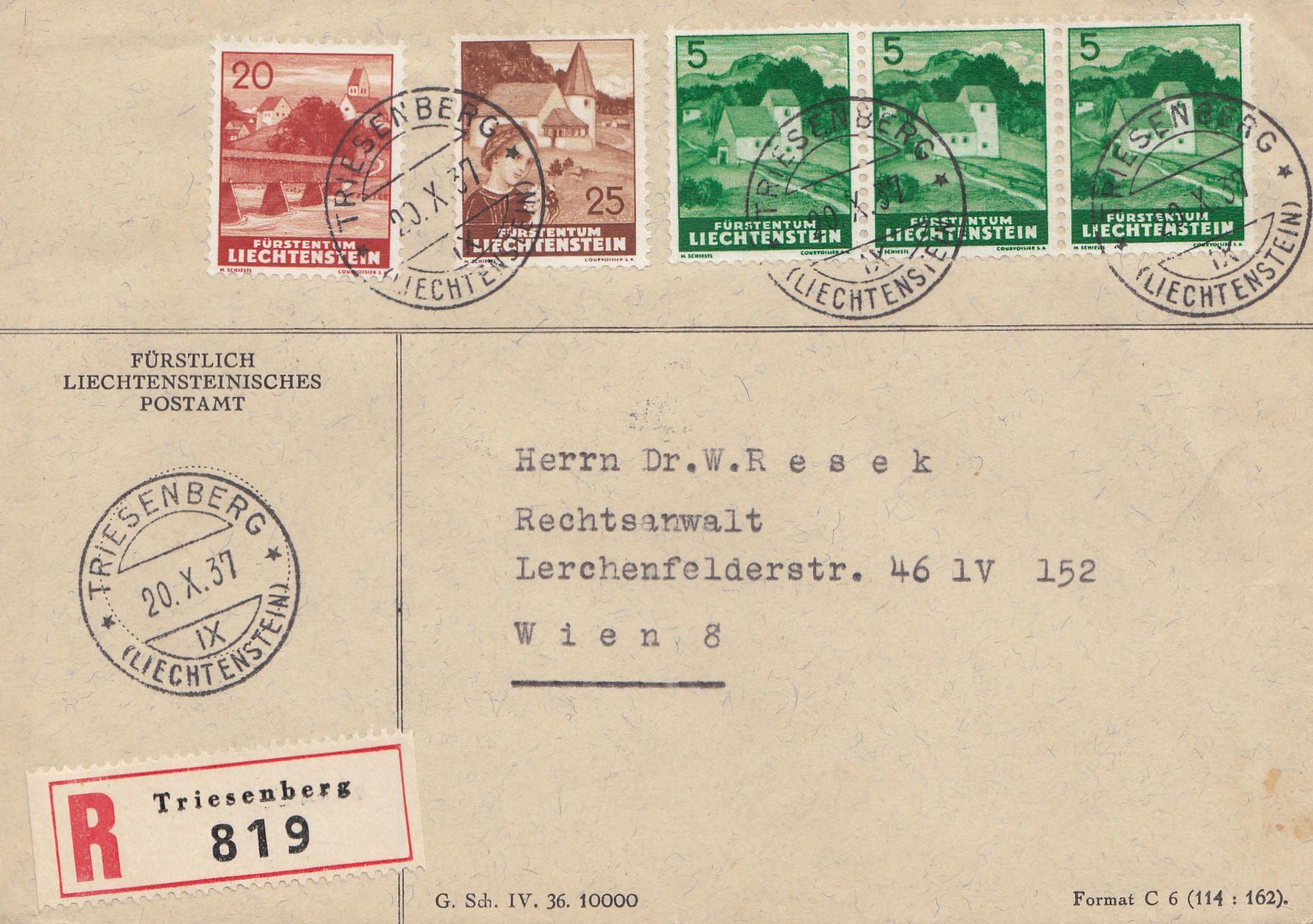 Liechtenstein-Triesenberg-1937-Einschreiben-nach-Wien