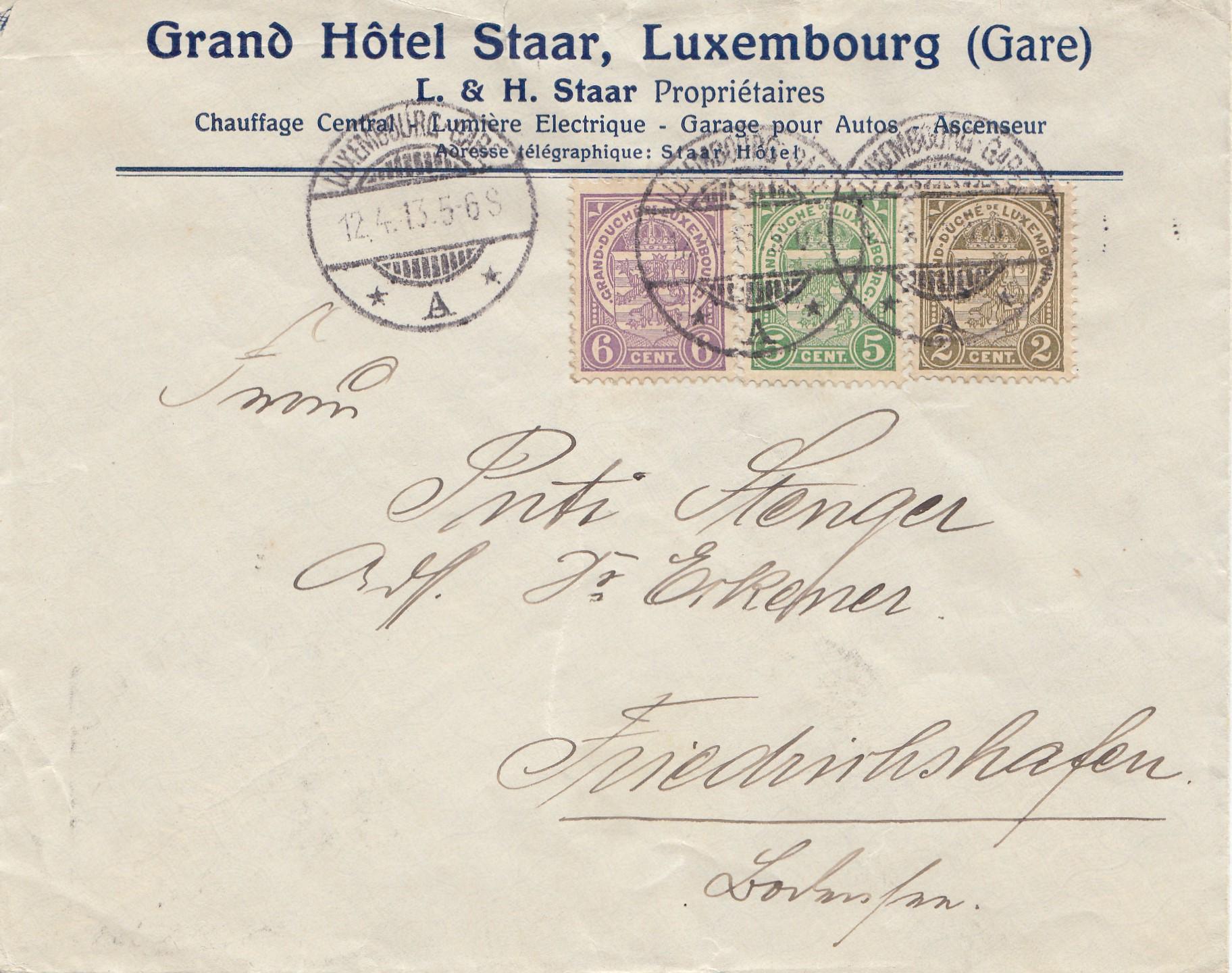 Brief Nach Luxemburg Porto : Luxemburg brief nach friedrichshafen · philarena