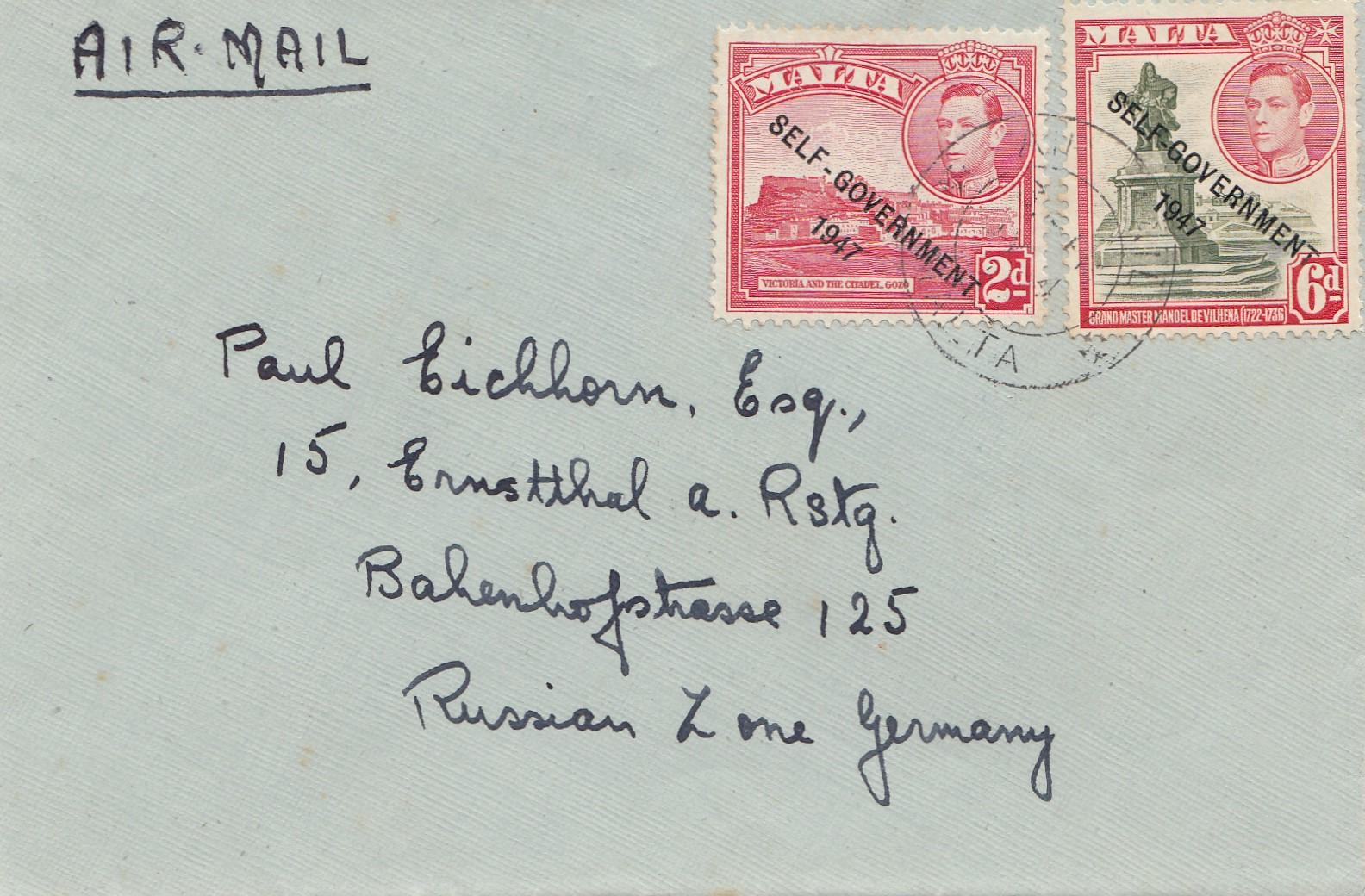 Brief Nach Zypern Dauer : Malta brief als luftpost nach ermstthal · philarena