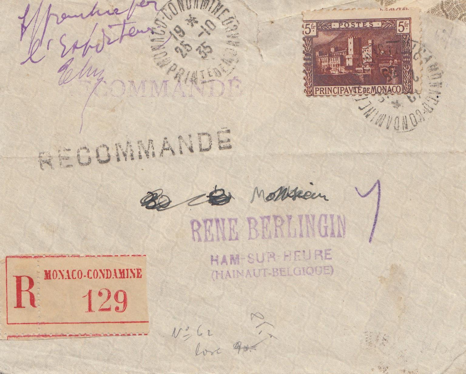 Brief Nach Belgien Frankieren : Monaco einschreiben nach belgien · philarena