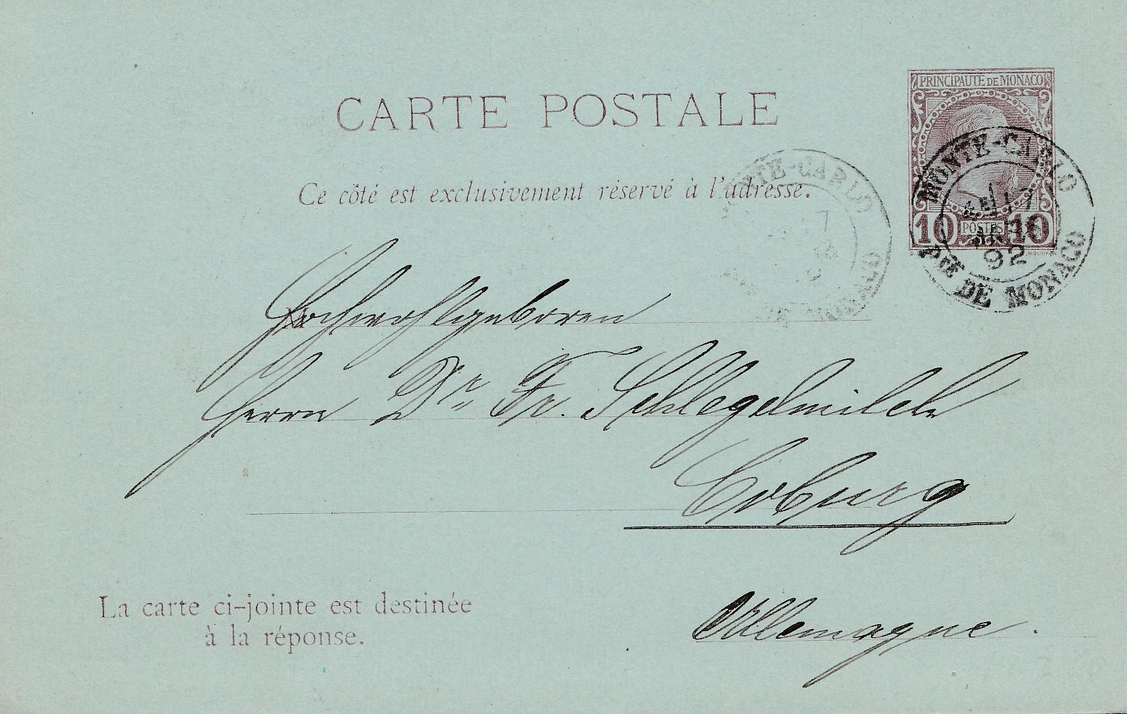 Einfach Monaco Ganzsache P5 Nach Coburg Mit Ungebrauchter Antwortkarte Exquisite Handwerkskunst; 1892