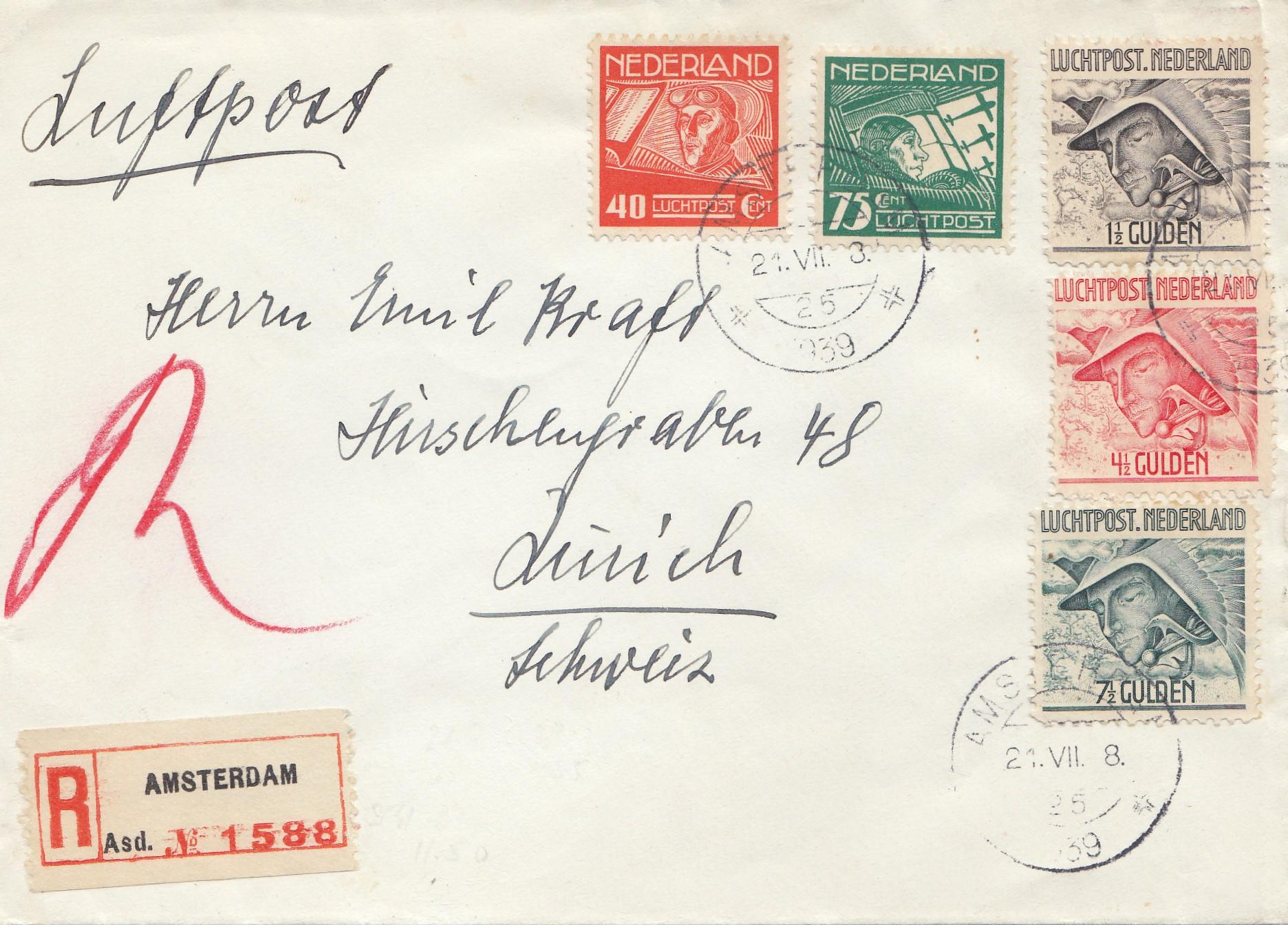 Brief Nach Zürich : Niederlande einschreiben amsterdam nach zürich · philarena