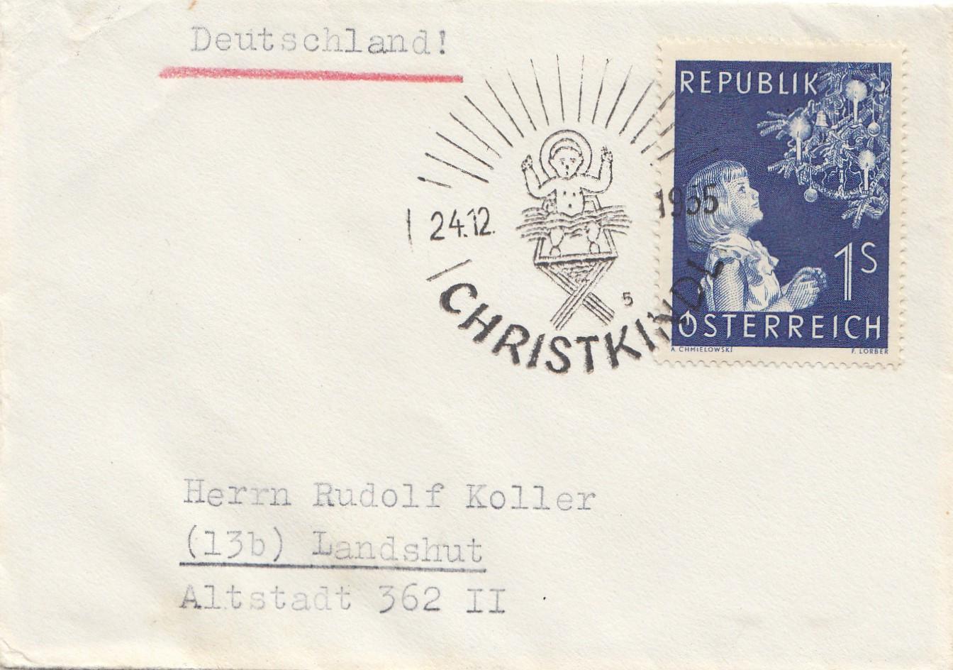 Brief Oesterreich Nach Deutschland : Österreich christkindl auf brief nach landshut