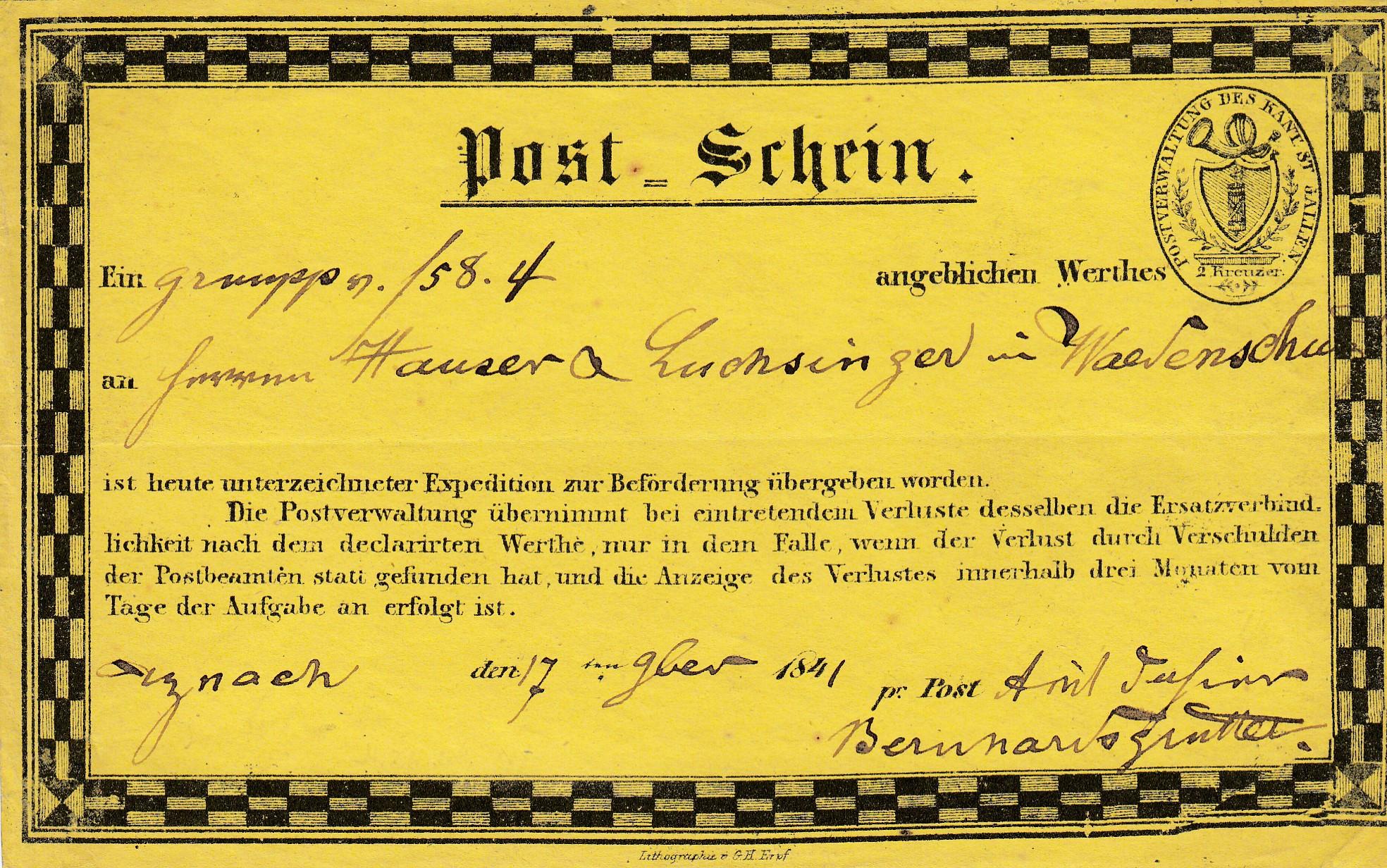 Schweiz-1841-Post-Schein-St-Gallen