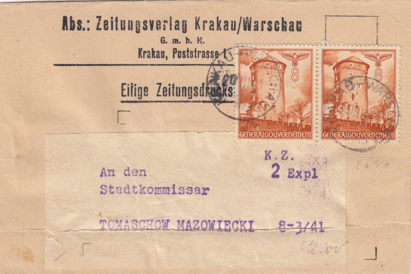 GG-Zeitungsstreifband-Verlag-Krakau-MeF-fuer-2-Exemplare-nach-Tomaszow