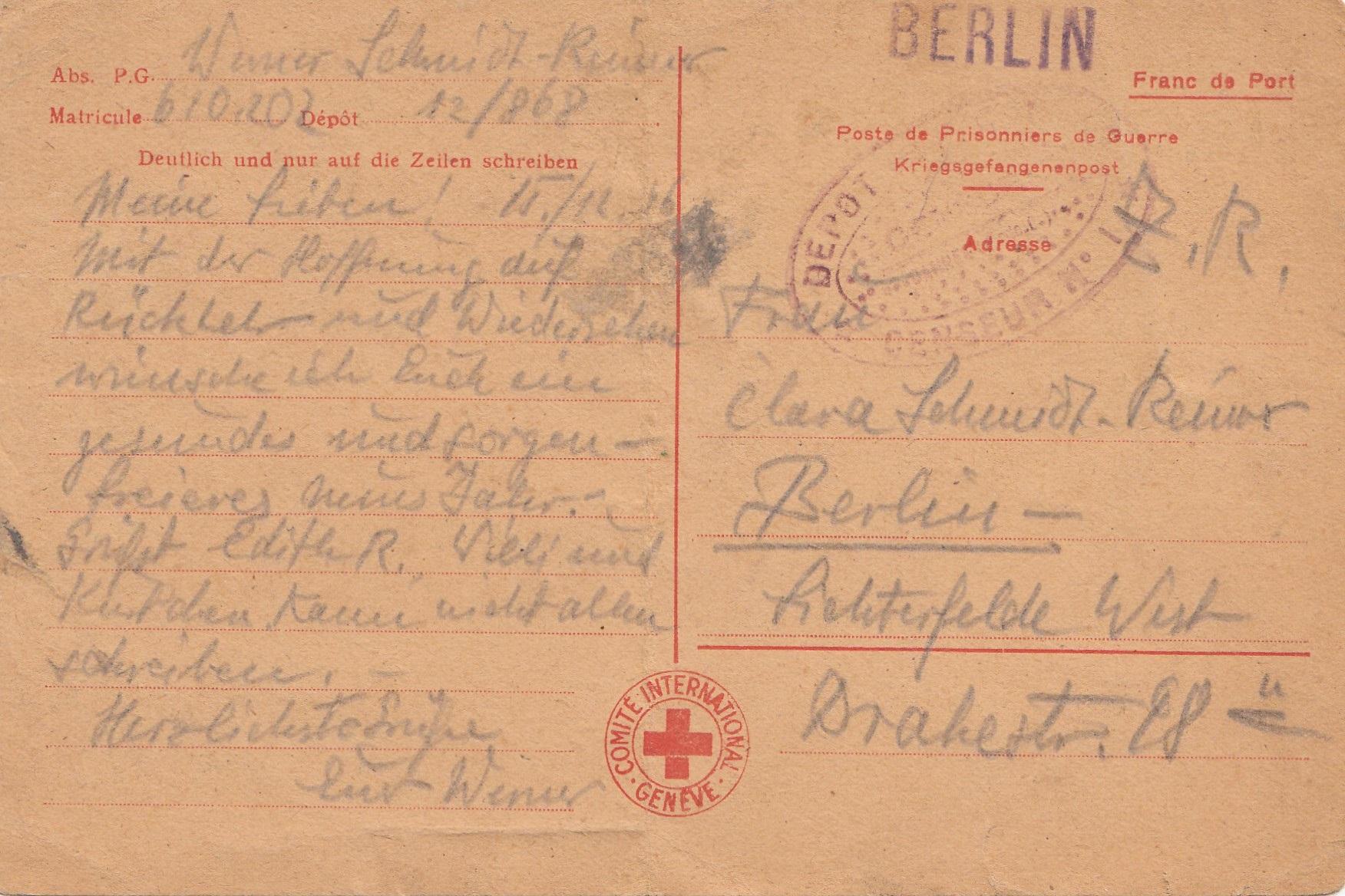 1946 kriegsgefangenen post rotes kreuz genf nach berlin. Black Bedroom Furniture Sets. Home Design Ideas