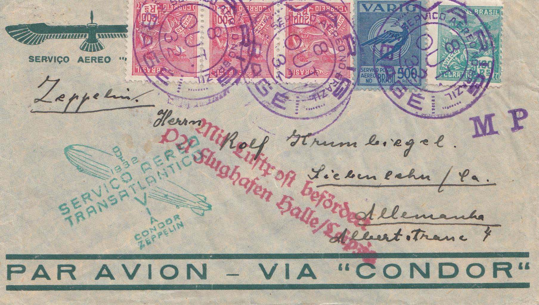 Zeppelin 1932 Brief Brasilien Nach Deutschland Mit Luftschiff
