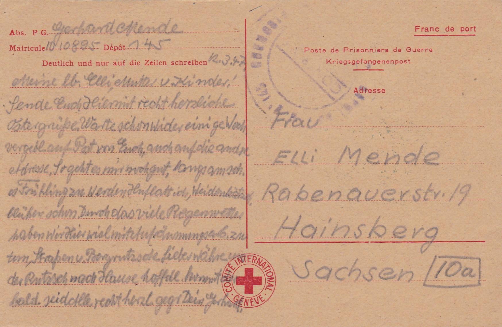 Weihnachtskarte Zu Ostern 1947 Rotes Kreuz Nach Hainsberg Philarena