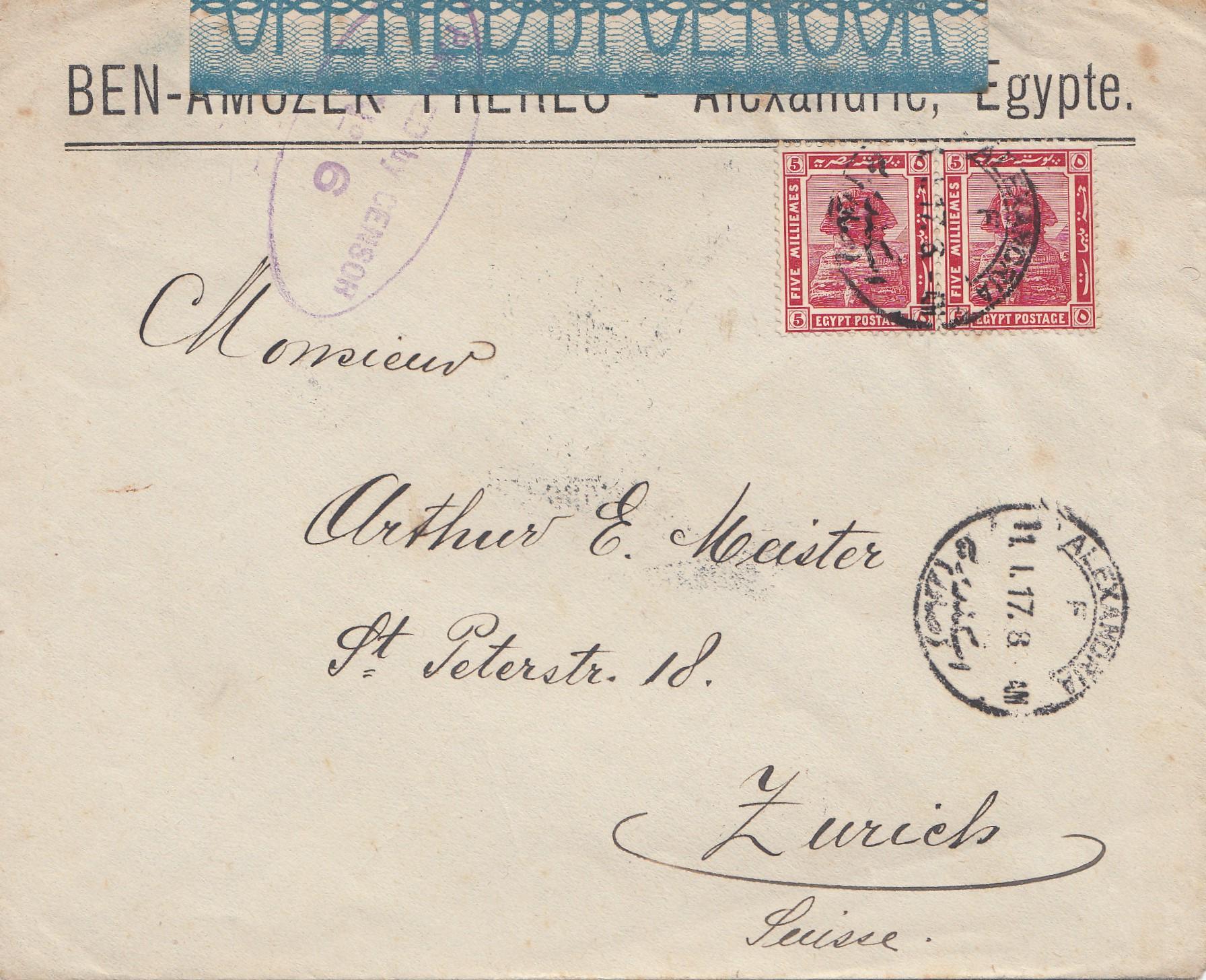 Brief Nach Zürich : Ägypten egypte brief von alexandria nach zürich